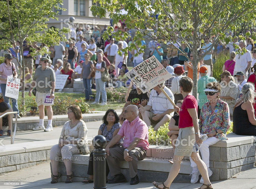 Protest Against NC Republican Politics at Moral Monday Rally royalty-free stock photo