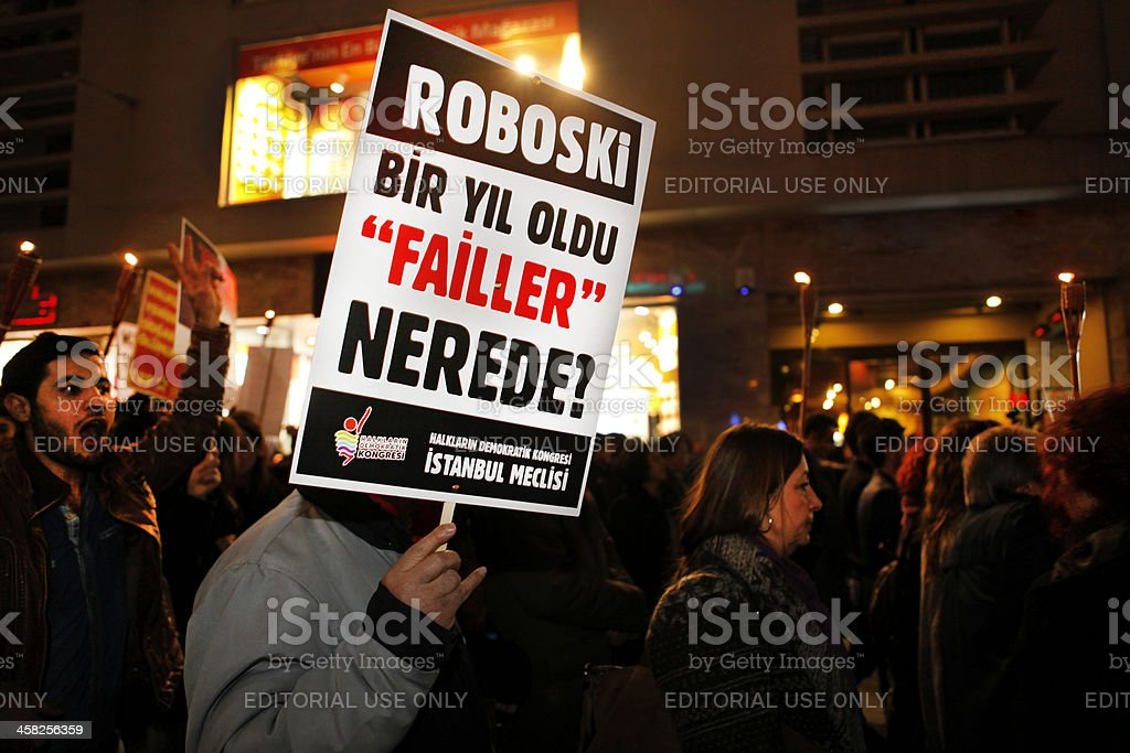 Protest against Roboski massacre in Istanbul royalty-free stock photo