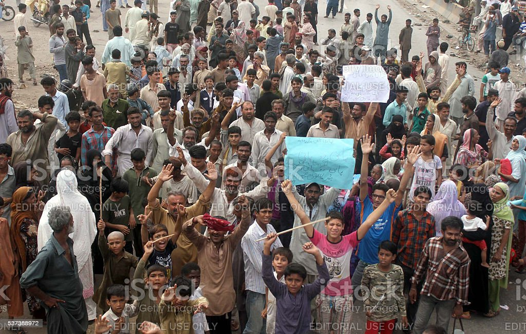 Protest against shortage of drinking water and electric stock photo