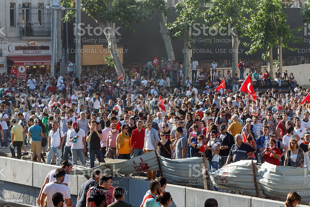 Protest against Taksim Gezi Park demolition in Istanbul stock photo