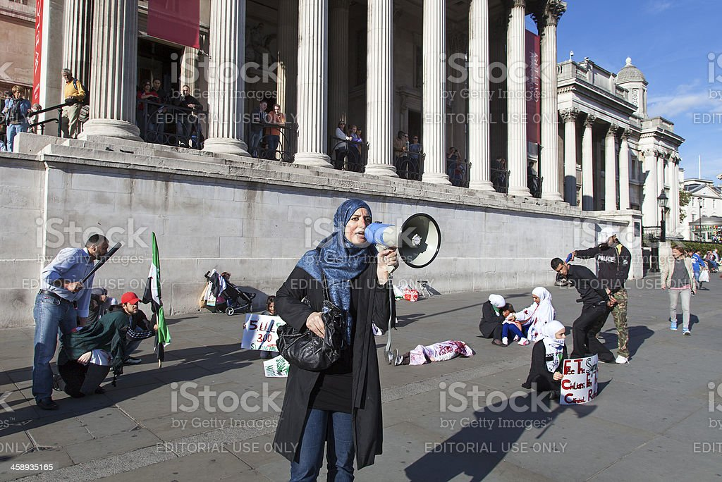 Protest against the civil war in Syria stock photo