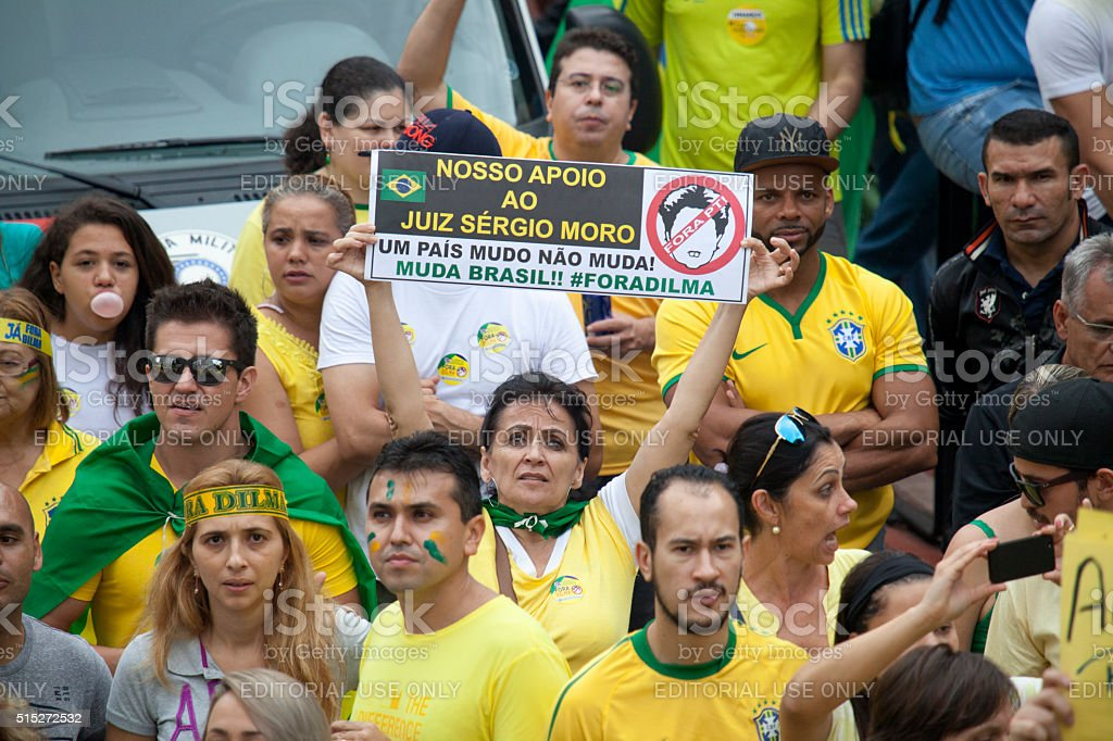 Protest against the government Dilma Rousseff stock photo