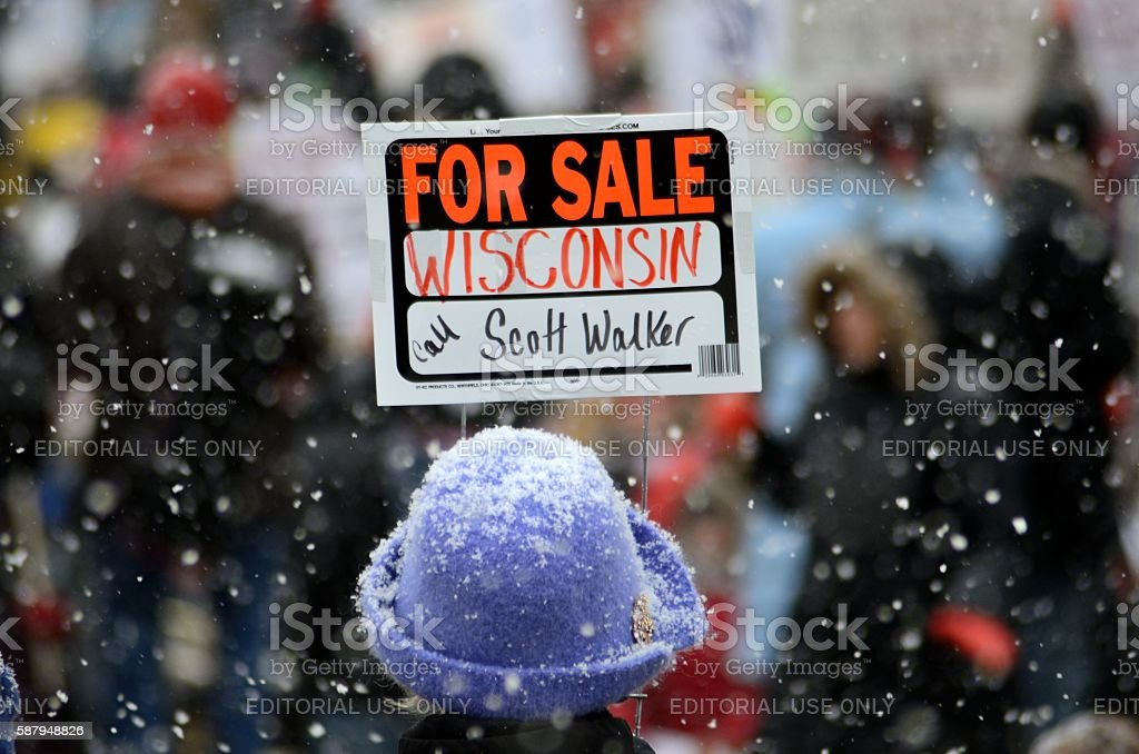 Protest against Wisconsin Governor Scott Walker stock photo