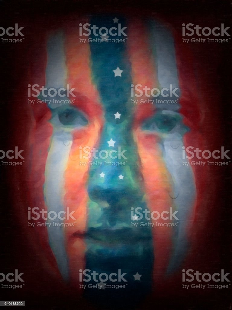 Protest art by nkbimages.  America crying. stock photo