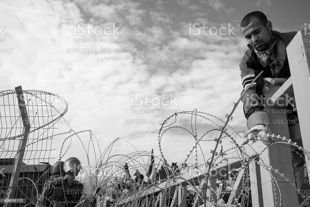 Protest at barrier in Bil'in, West Bank stock photo
