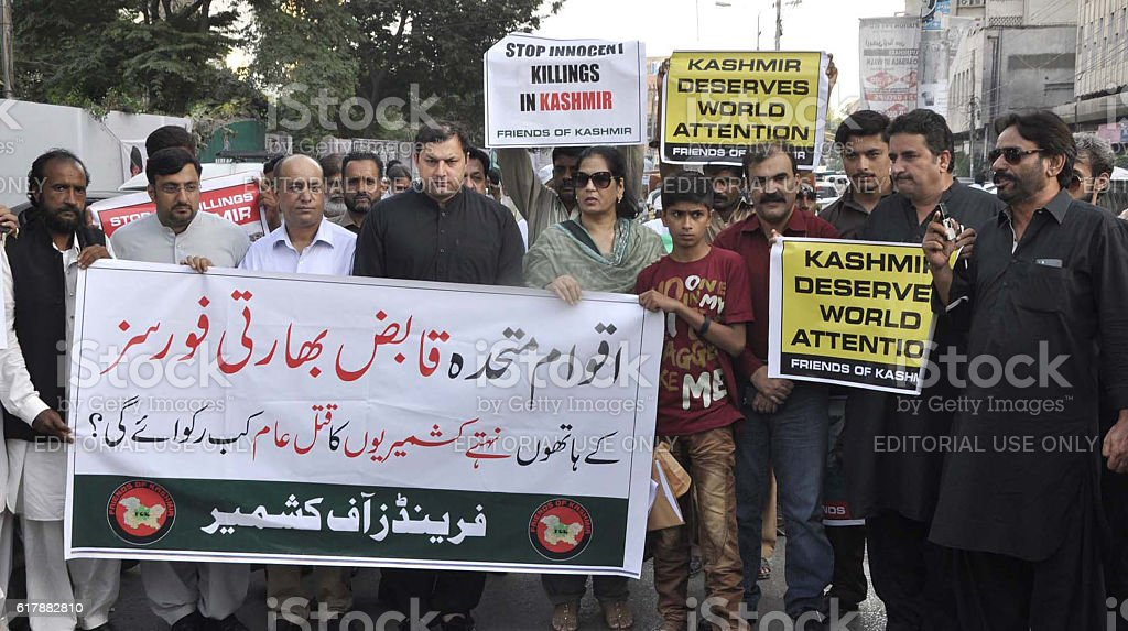 Protest demonstration against Indian brutality in Kashmir stock photo