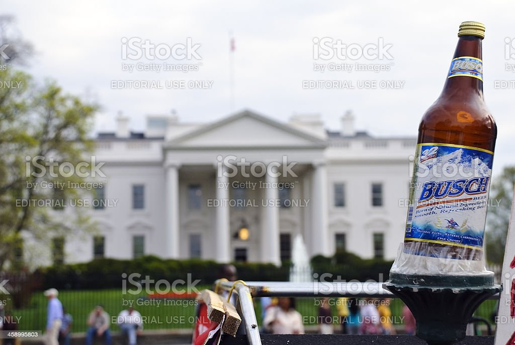 Busch beer and Bush White House stock photo