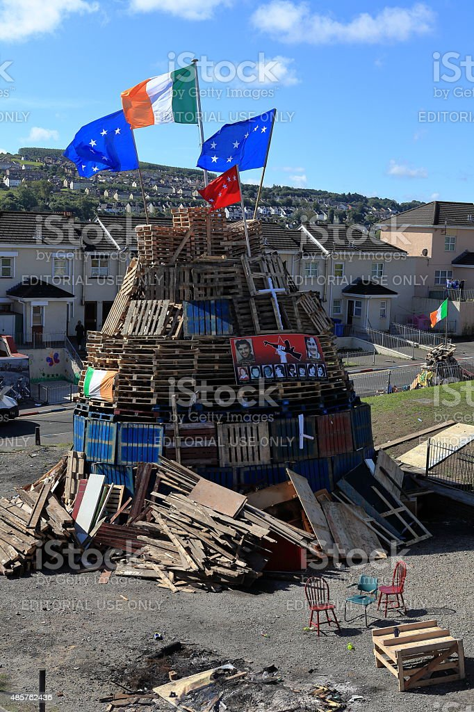 Protest fire in Derry Northern Ireland stock photo