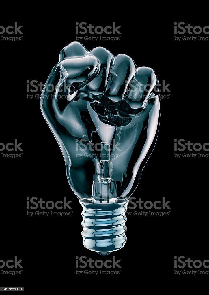 Protest fist light bulb stock photo