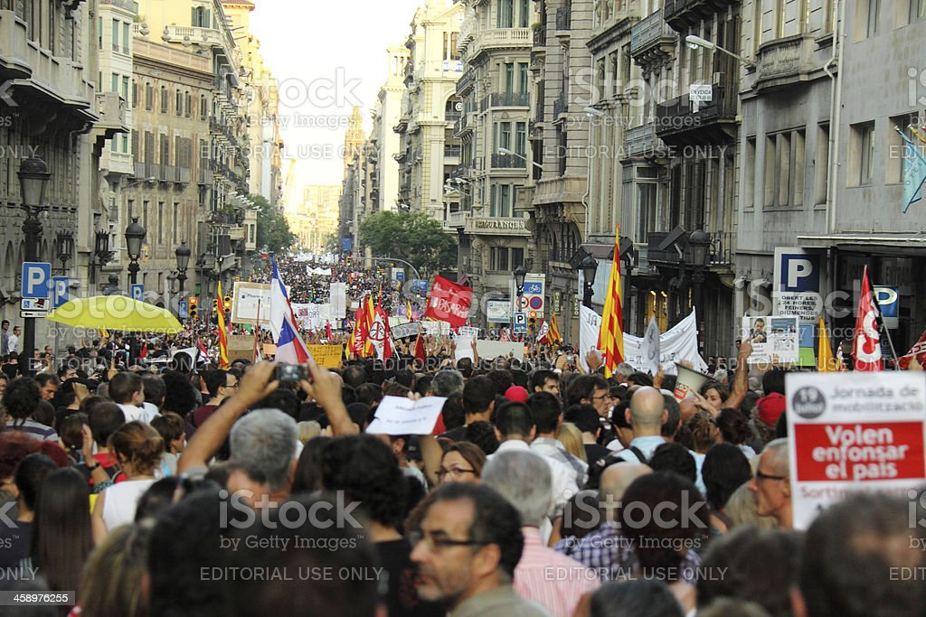 Protest in Barcelona stock photo