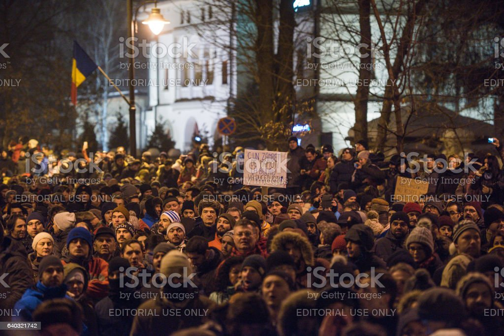 Protest in Bucharest against the government stock photo