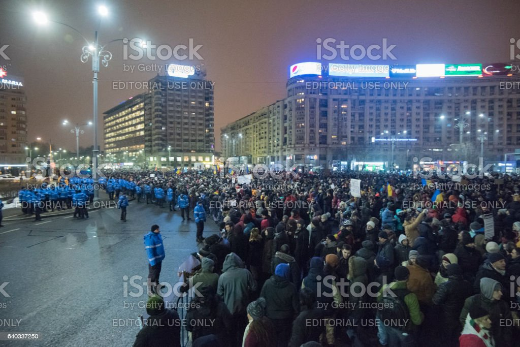 Protest in Bucharest city center stock photo