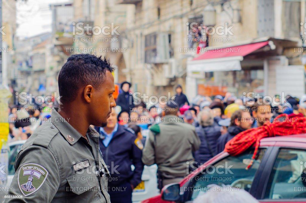 Protest in Mea Shearim neighborhood, Jerusalem stock photo