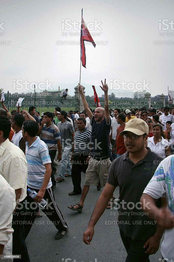 Protest in the streets of Kathmandu, Nepal stock photo
