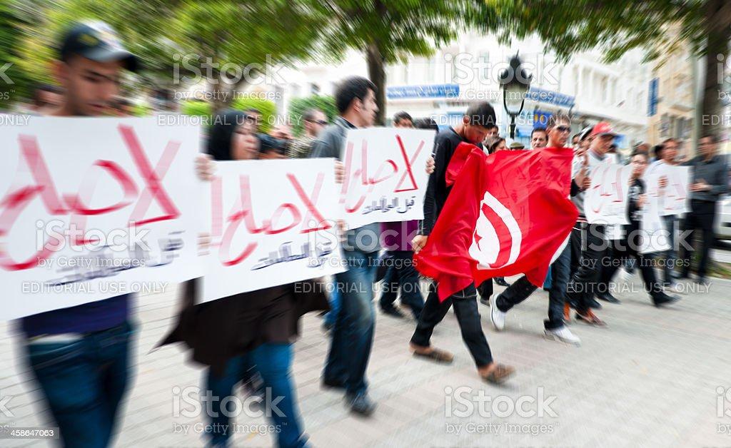 Protest in Tunisia stock photo