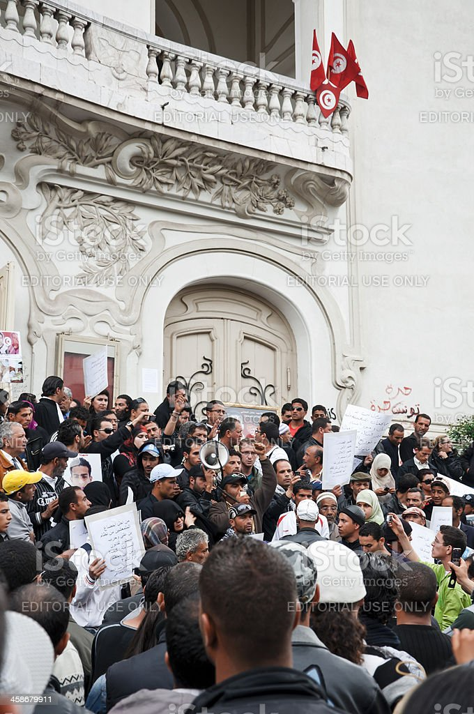 Protest in Tunisia stock photo