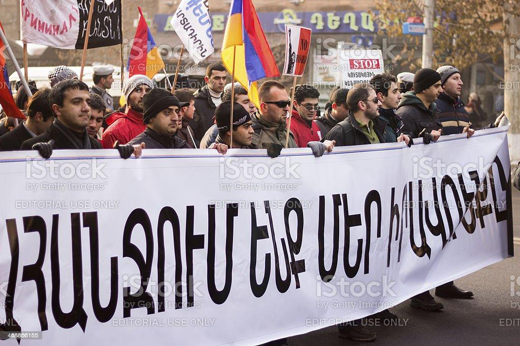 Protest march in Yerevan stock photo