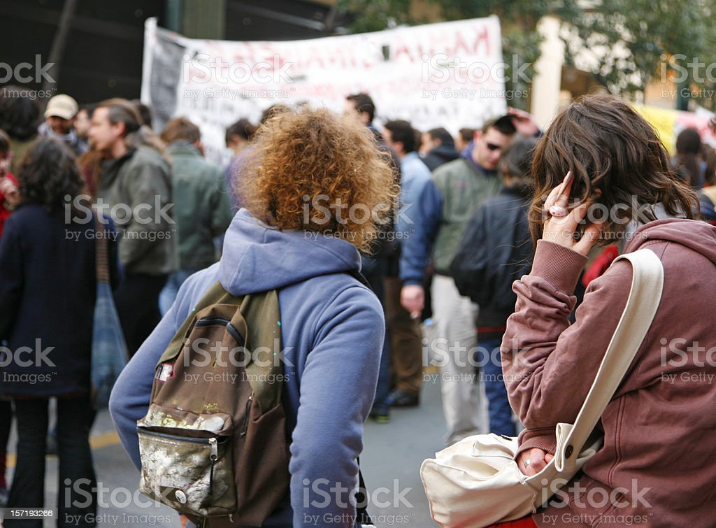 Protest march stock photo