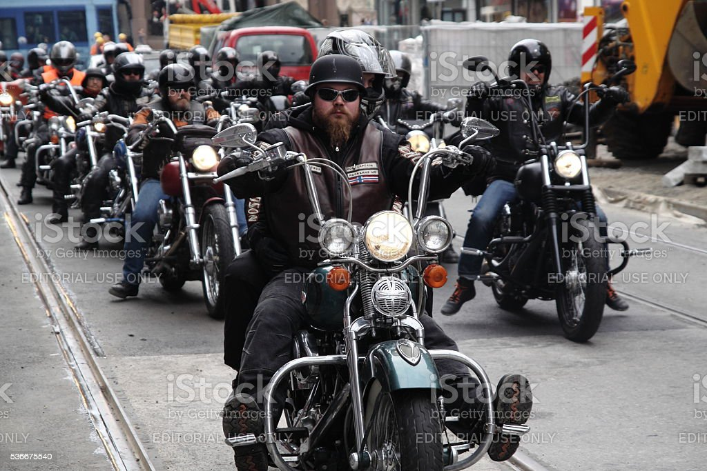 Protest of motorcycle clubs in Oslo stock photo