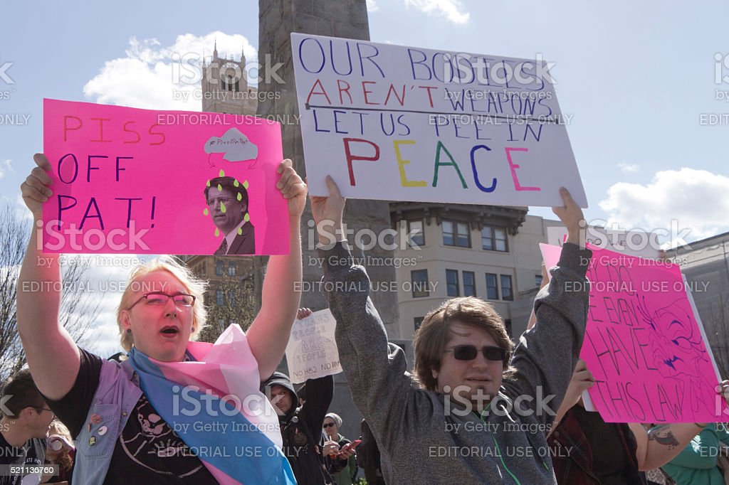 HB2 Protest Sign Says Piss Off Pat stock photo
