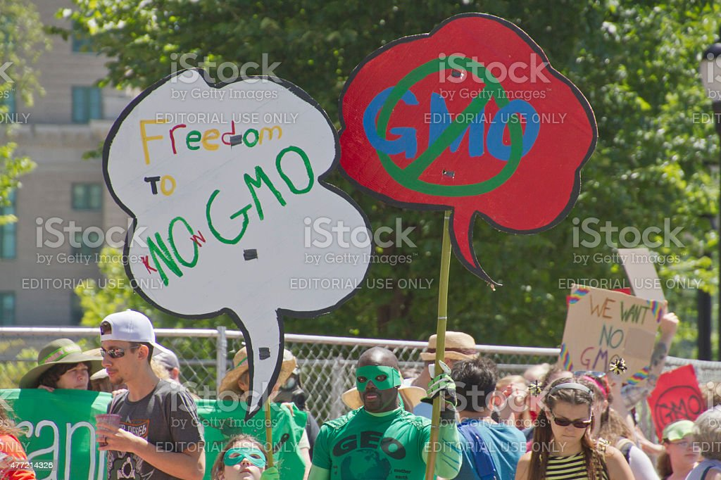 GMO Protest Signs stock photo