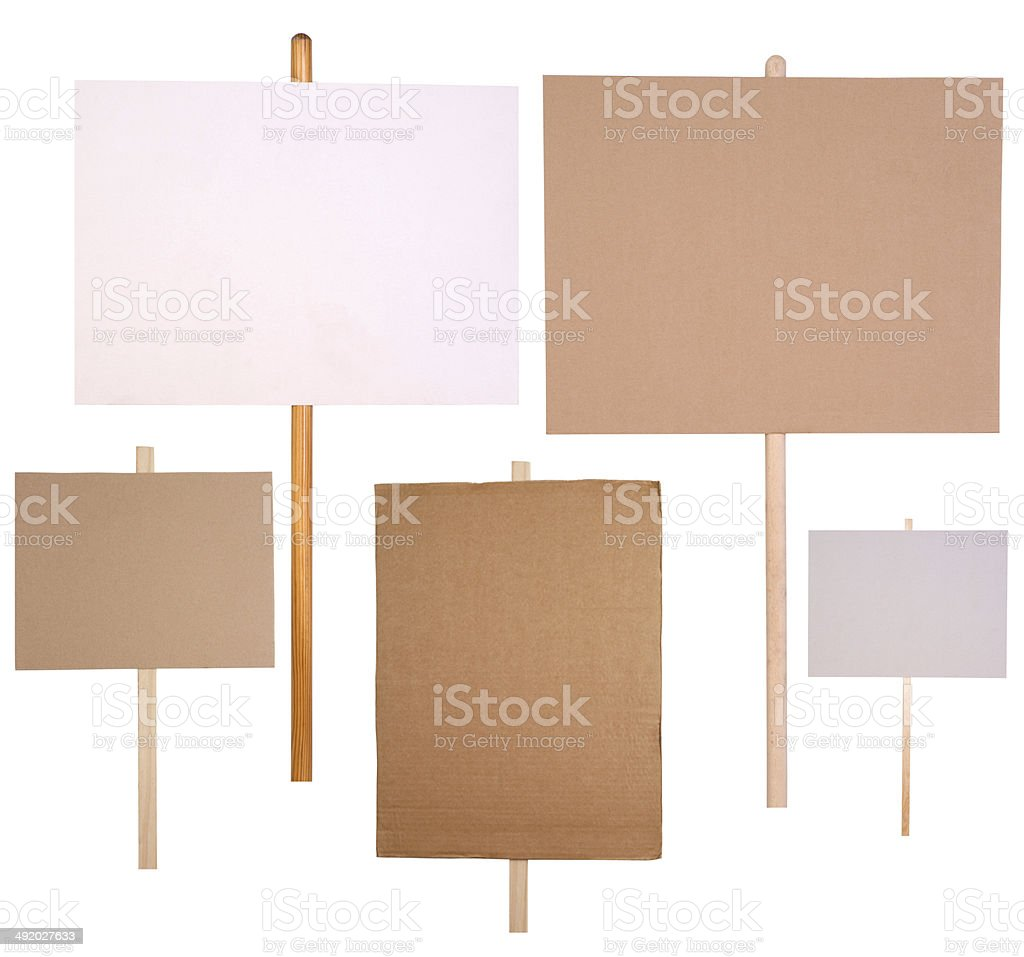 Protest signs stock photo