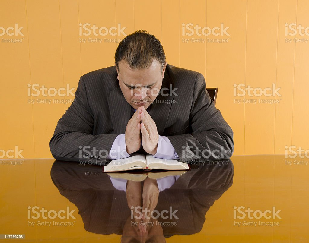 Protestant Business Man Praying stock photo