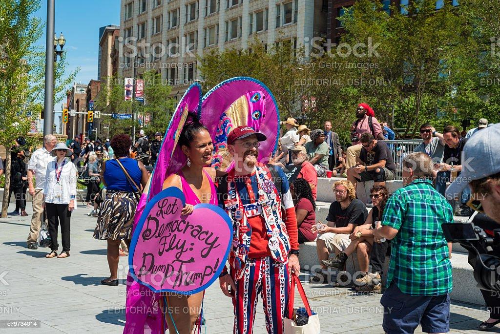 Protester and vendor stock photo