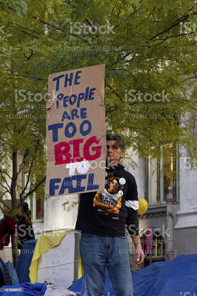Protester at Occupy Wall Street stock photo