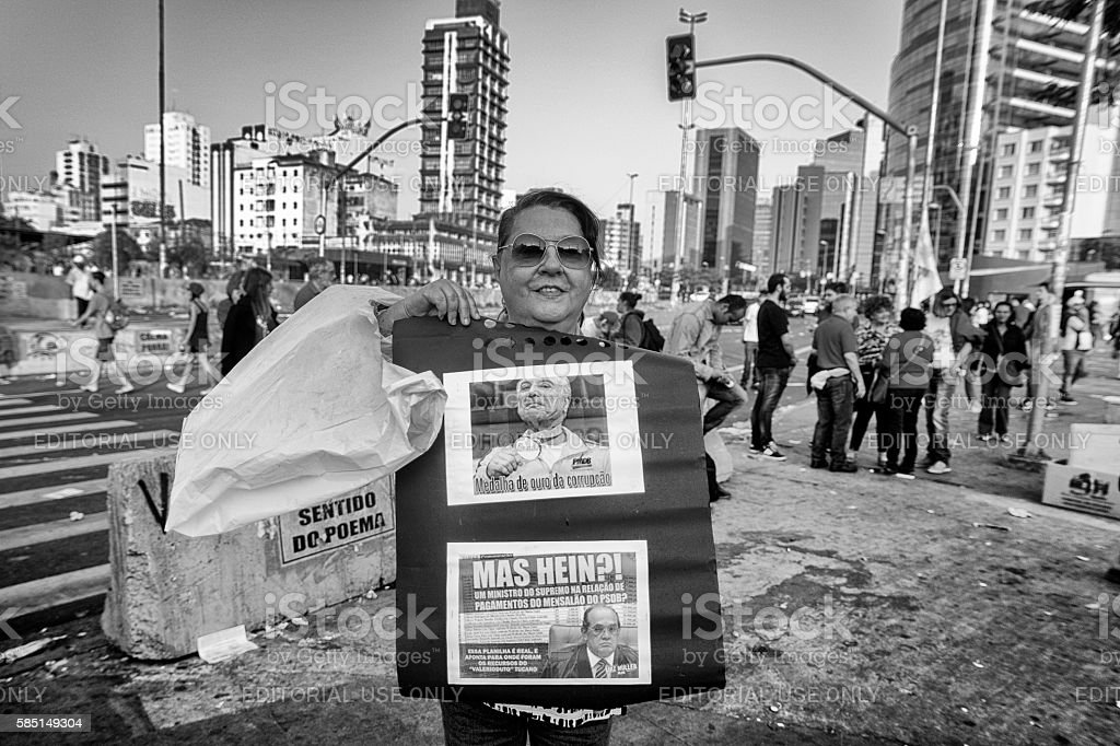 Protester in Brazil stock photo