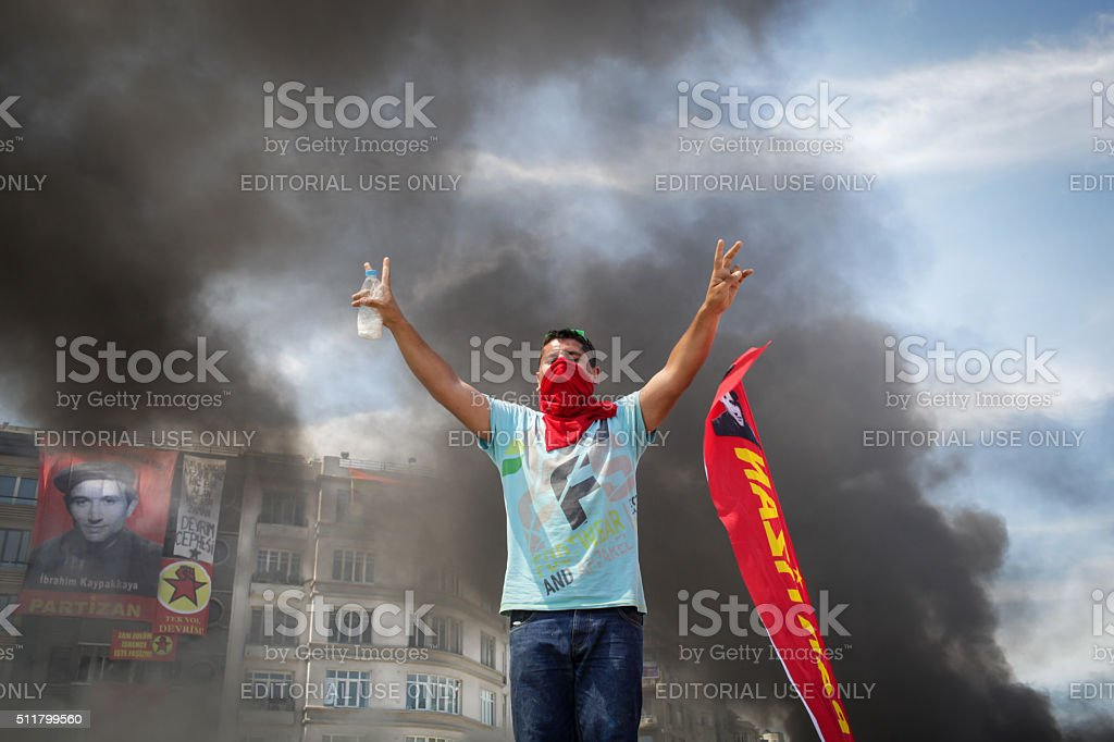 Protester in Istanbul stock photo