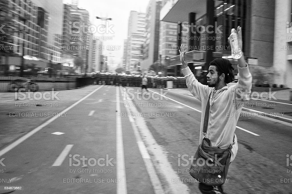 Protester Surrender stock photo