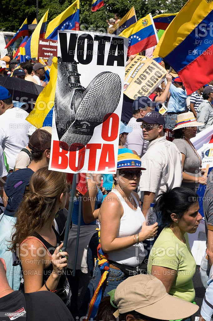 Protesters against Venezuelan government in a multitudinous parade royalty-free stock photo