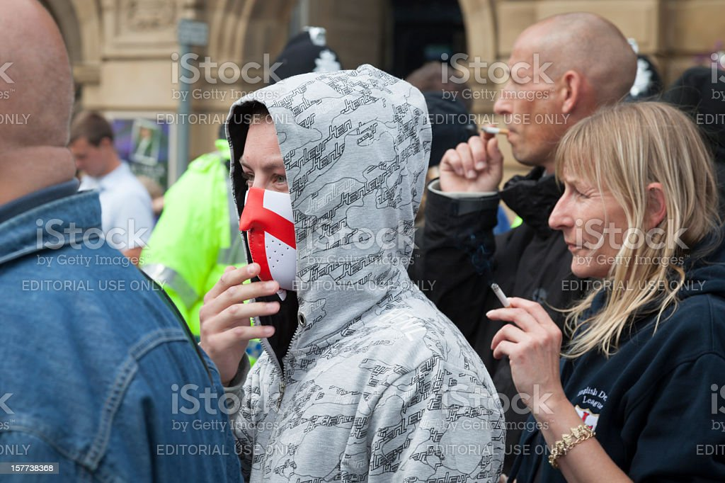 Protesters arriving at EDL rally stock photo