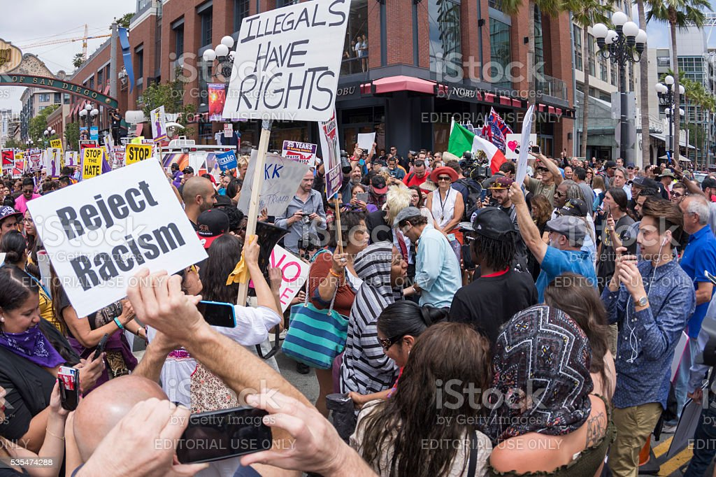 Protesters at anti-Trump demonstration in San Diego stock photo