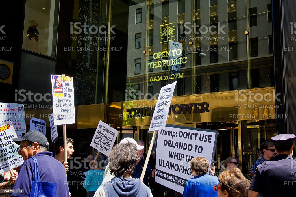 Protesters at Trump Tower building, Fifth Avenue, Midtown Manhattan, NYC stock photo