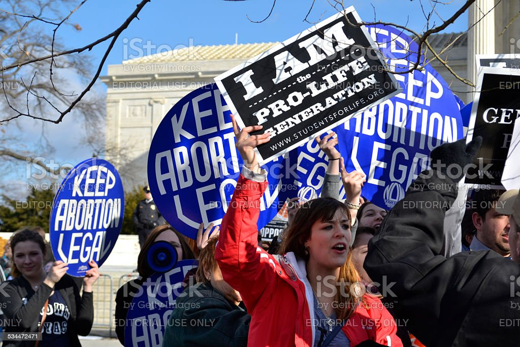 Protesters Chanting At The U.S. Supreme Court stock photo