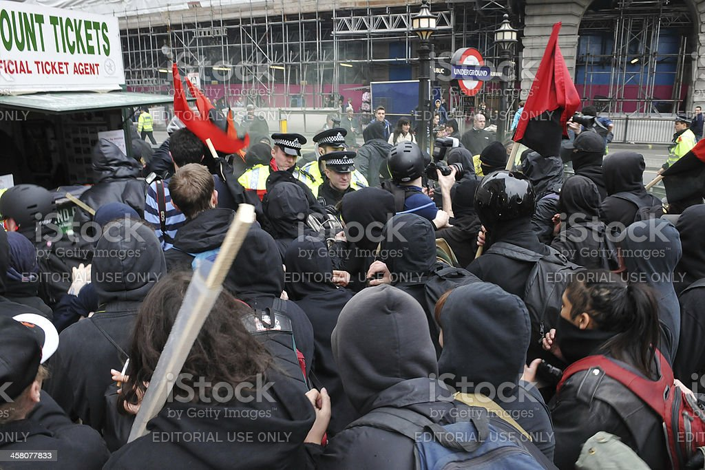Protesters Clash with Police in London royalty-free stock photo