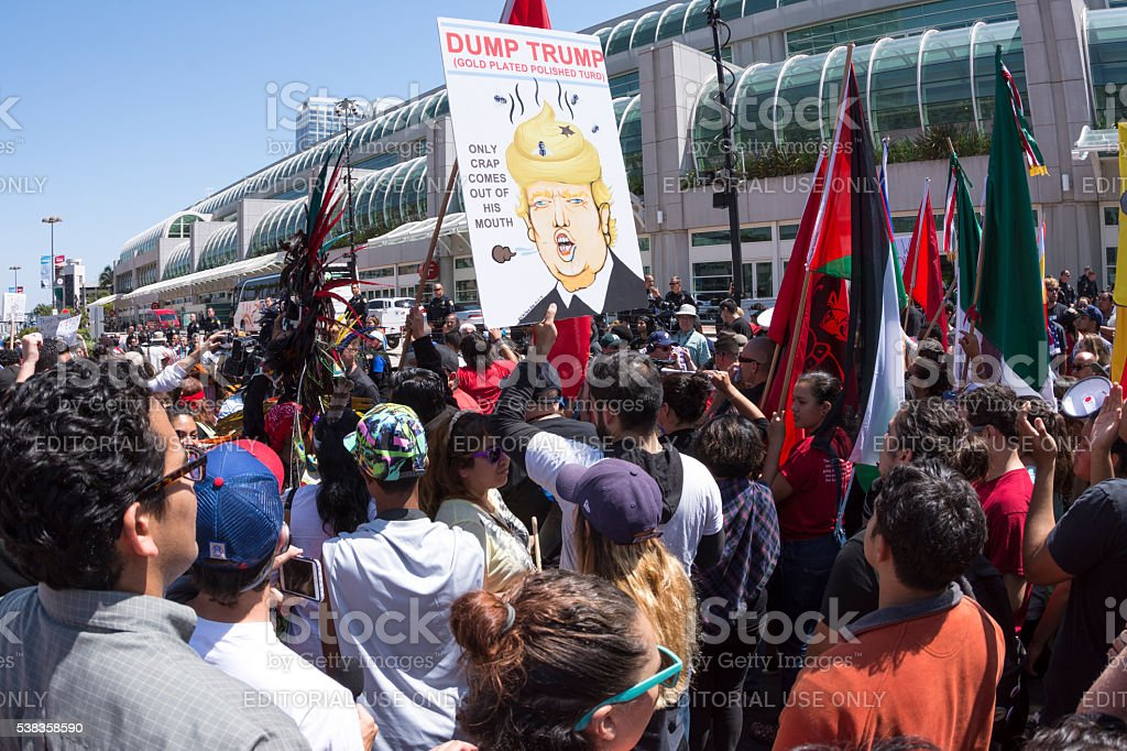 Protesters gather to dump Trump in San Diego stock photo
