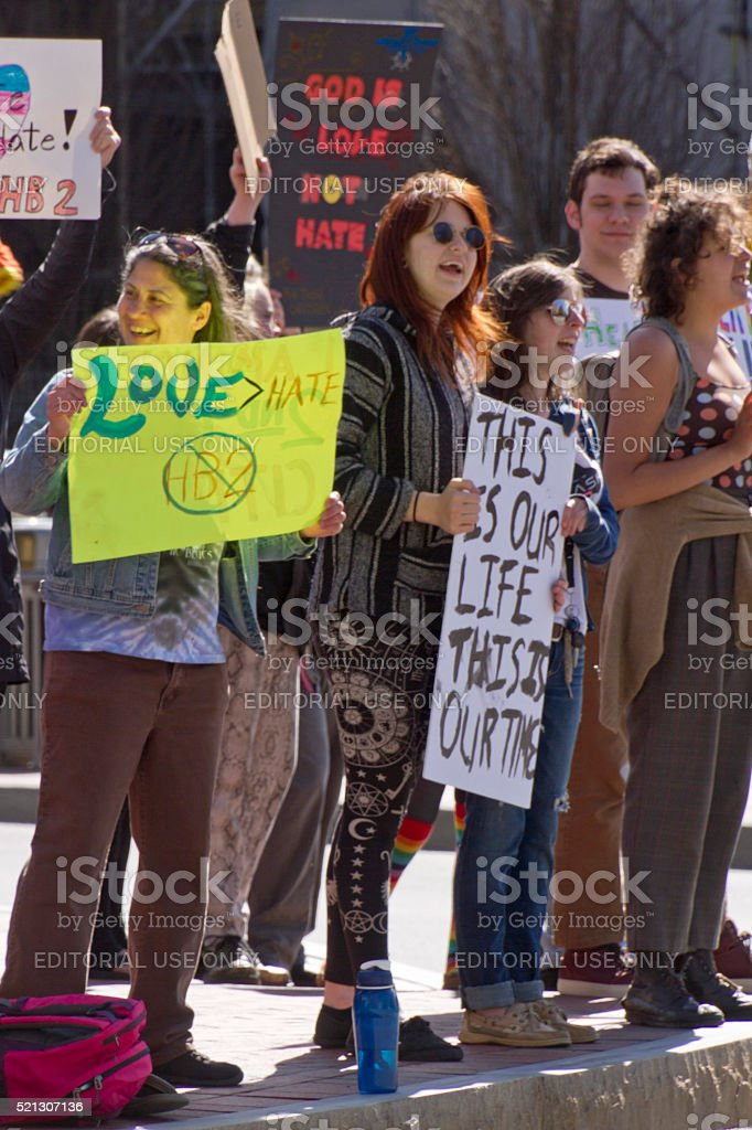 HB2 Protesters - God Is Love, Not Hate stock photo