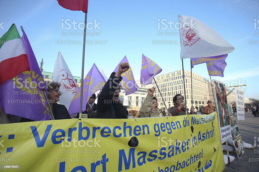 Protesters in Berlin royalty-free stock photo