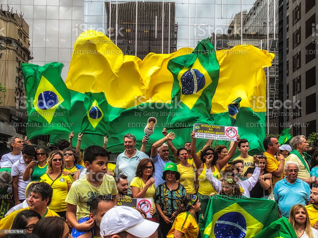 Protesters in  Brazil against President Dilma Rousseff (12) stock photo