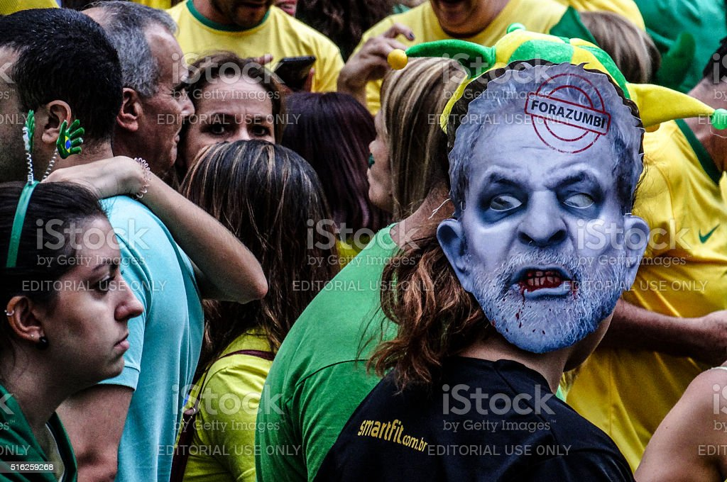 Protesters in  Brazil against President Dilma Rousseff (14) stock photo