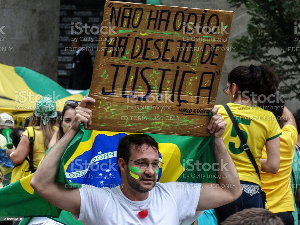Protesters in  Brazil against President Dilma Rousseff (17) stock photo