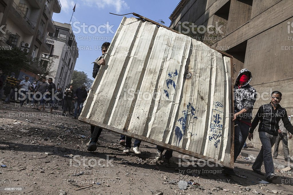 Protesters in Cairo advancing forward stock photo