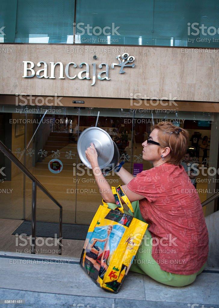 15-M protesters in font of Bancaja / Bankia stock photo