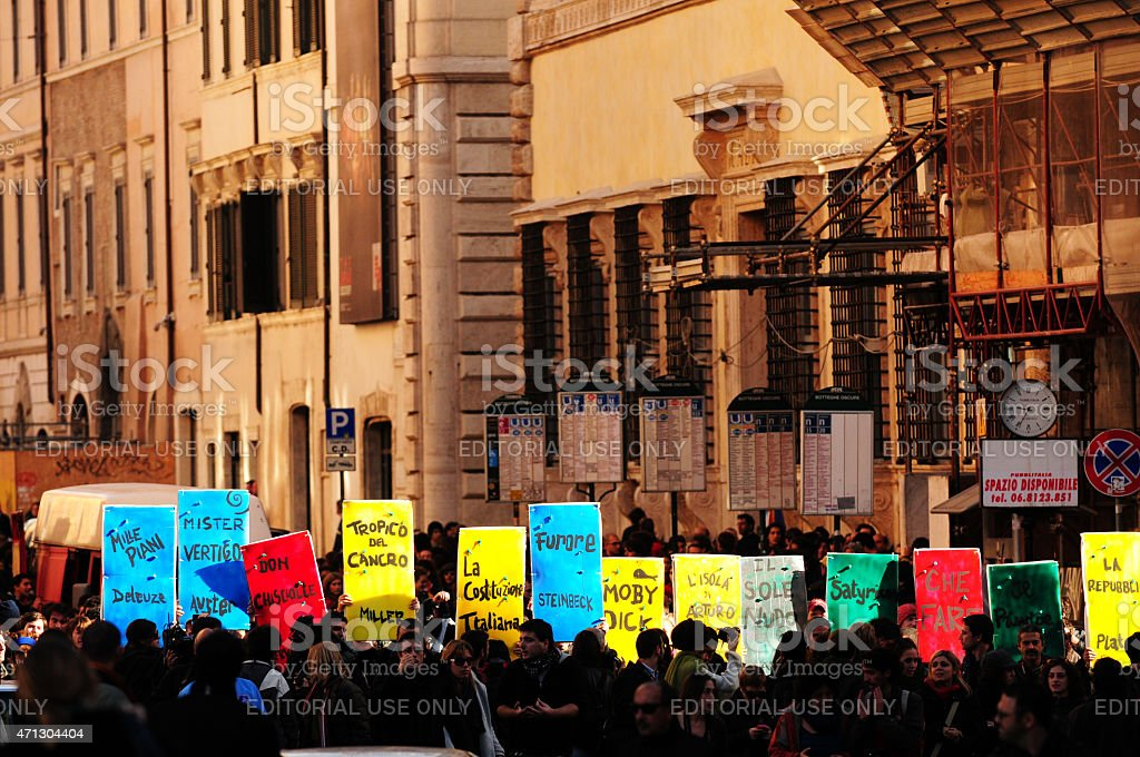 Protesters in Rome stock photo