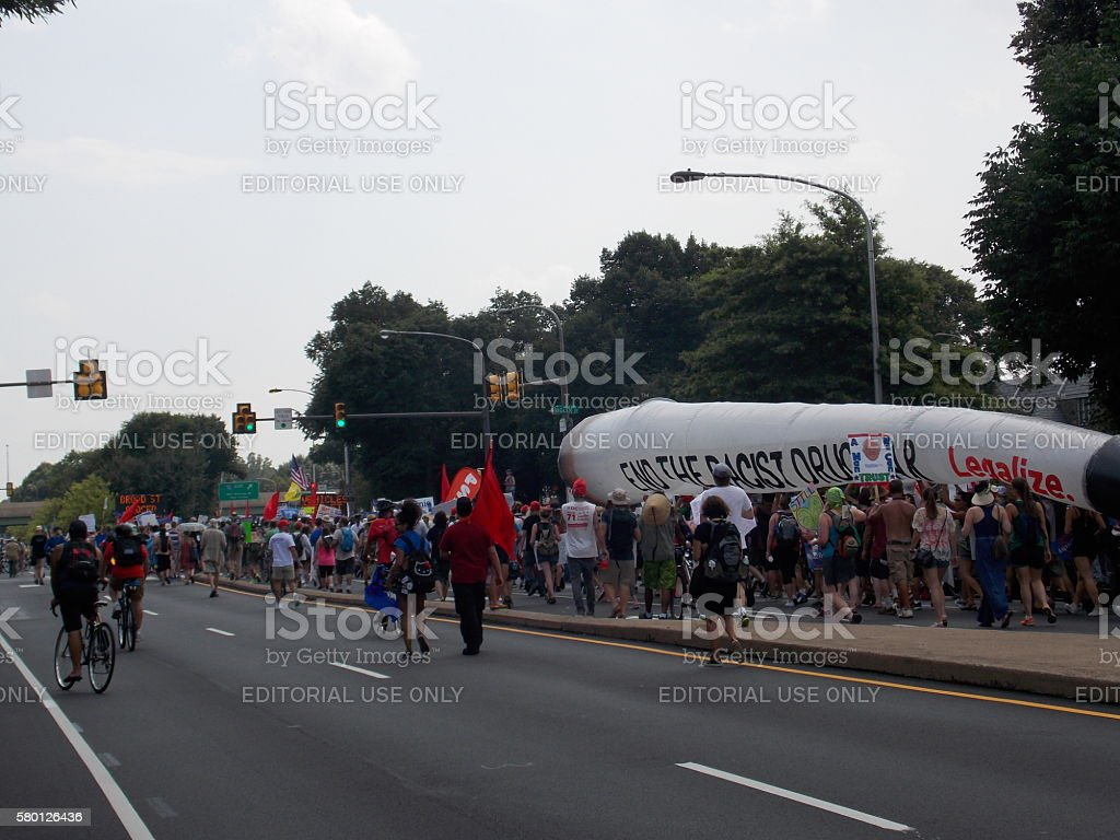 DNC Protesters March for Pot Legalization stock photo