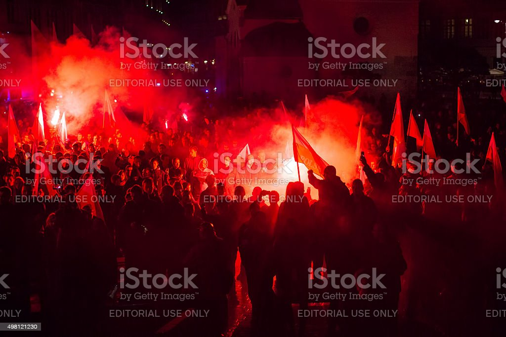 Protesters march through center of city. stock photo