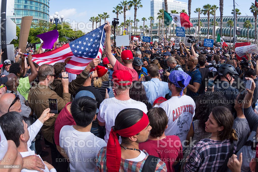 Protesters peacefully face off at Trump rally stock photo